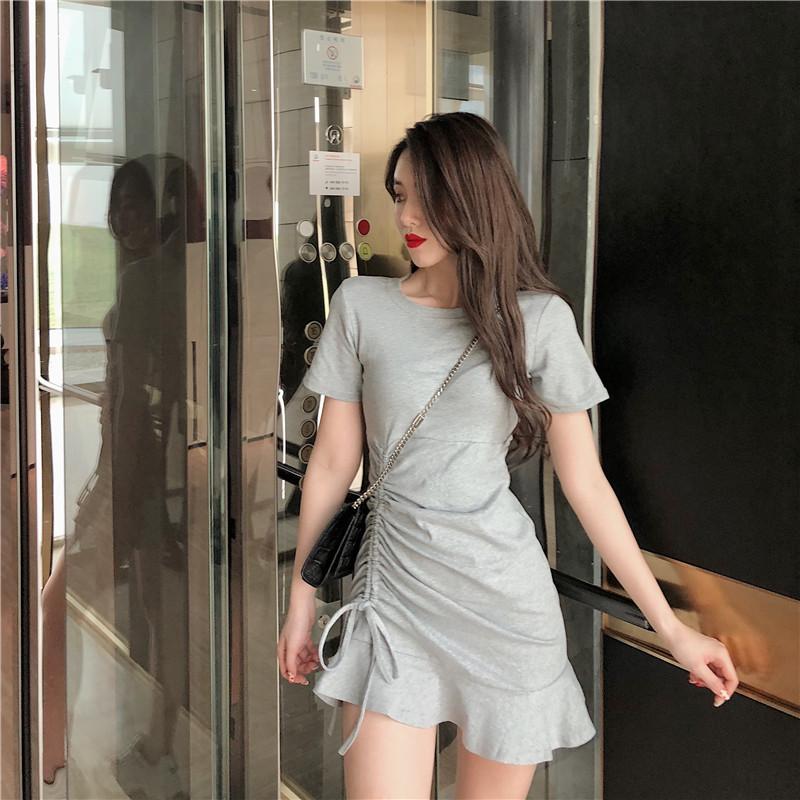 2019夏季新款韩版很仙的法国小众连衣裙修身抽绳系带包臀鱼尾裙女12-01新券