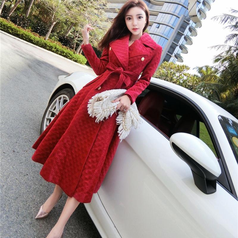 2018新款秋冬女装韩版复古绑带收腰中长款双排扣风衣外套赫本大衣