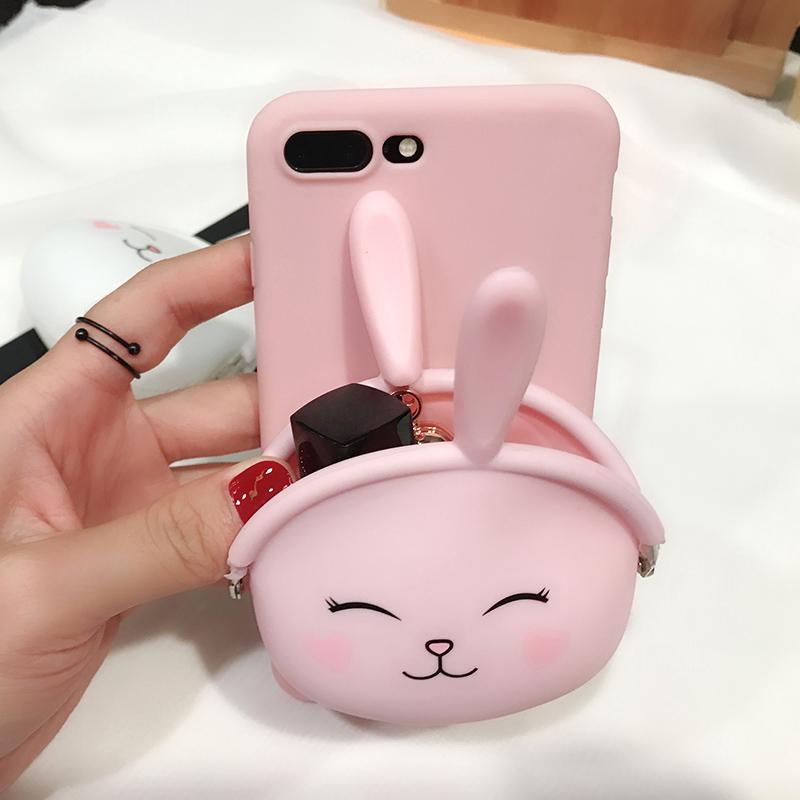 兔子零钱包iphone6手机壳韩国少女苹果6s/5s/4s/5c创意软硅胶plus