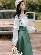 法式复古少女衬衫吊带背带半身裙两件套2020春装新款学生桔梗裙子
