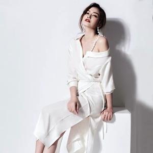 春秋新款韩版吊带性感露肩开叉度假连衣裙中长款仙女年会宴会礼服