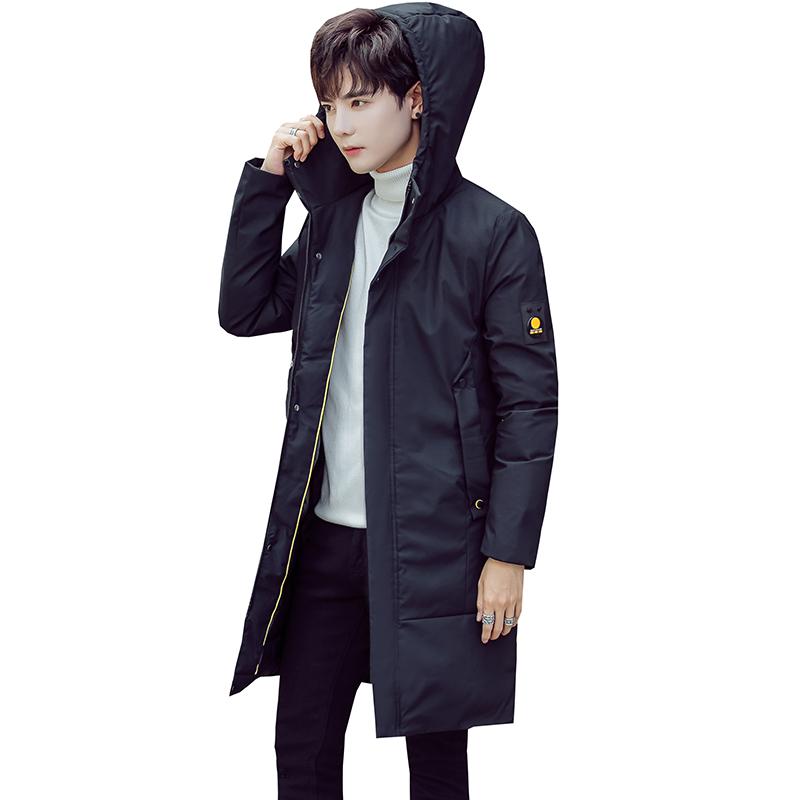 青年男士冬季棉衣新款修身韩版加厚连帽中长款羽绒棉袄棉服外套男