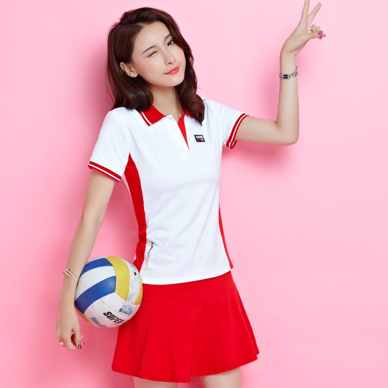 2018新款夏装大码女装网球服幼儿园老师园服运动服休闲裙裤套装女
