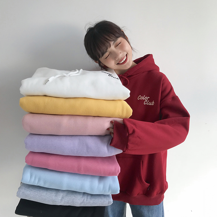 Real Shot Quality Inspection Small Video   College Wind Candy-Colored Embroidered Small Letter plus Velvet Hooded Sweatshirt VIC1007