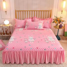 水晶绒夹棉加厚床裙儿童卡通床罩冬季1.5m1.8米法莱绒组合四件套