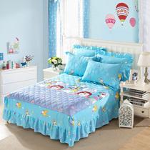 全棉卡通夹棉加厚床裙床罩纯棉儿童1.2m1.5米1.8米2m床盖床笠定做