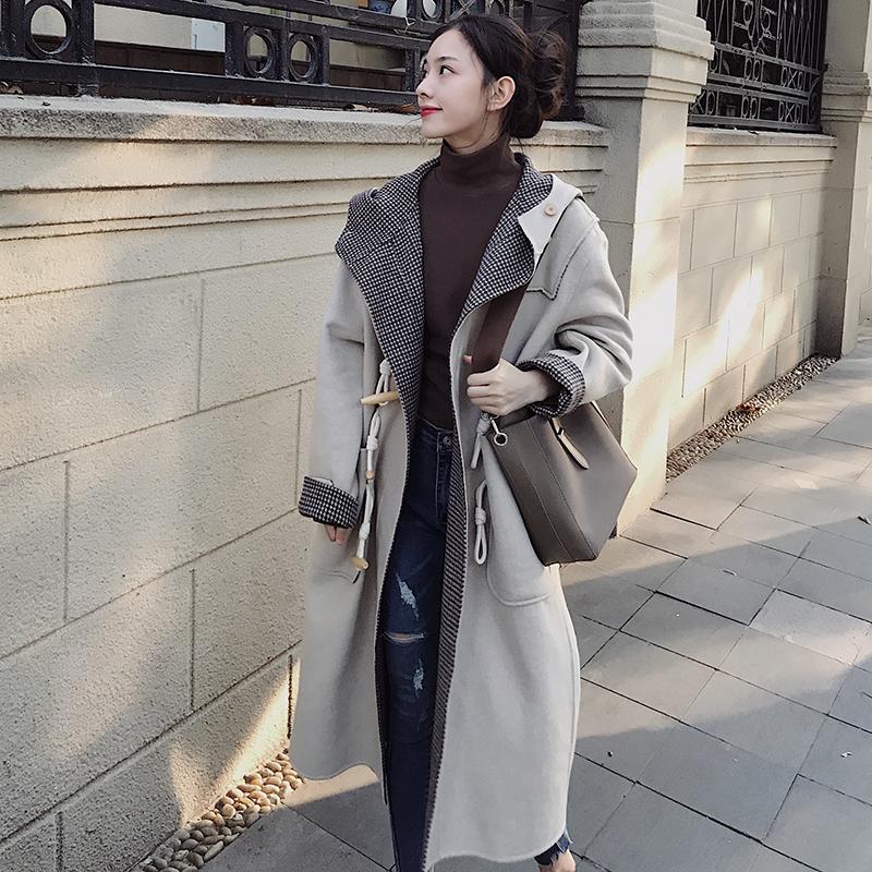中长款毛呢外套2019秋冬新款韩版休闲韩版两面穿牛角扣宽松呢大衣