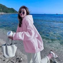 卫衣女秋季薄款2021年新款粉色宽松大码女装慵懒风加绒连帽外套