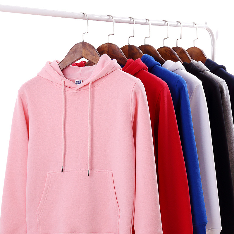 Autumn and winter Plush thickened blank sweater custom printing logo tide brand solid color hooded advertising shirt printing
