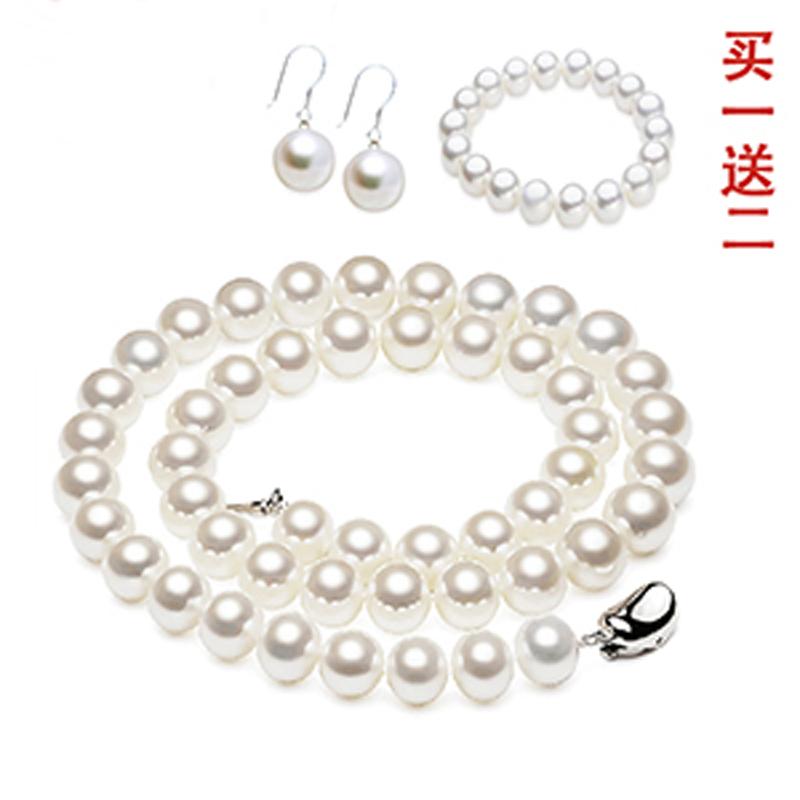 白色母贝壳珍珠项链正圆女锁骨链 送妈妈 时尚百搭毛衣链旗袍新娘