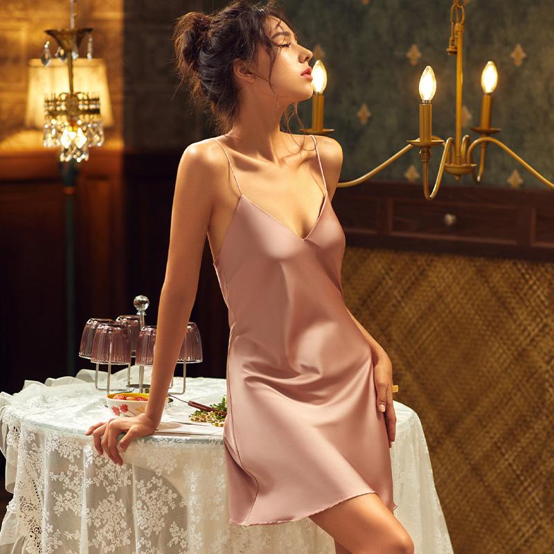 2020新款性感睡衣女夏季冰丝薄款丝绸女士夏天吊带睡裙火辣诱惑