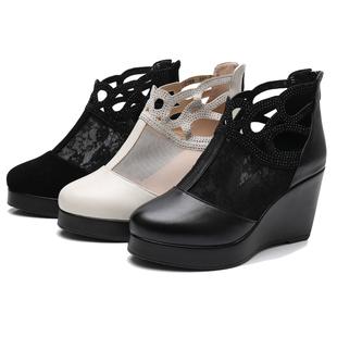 春夏新款真皮坡跟鏤空短靴高跟圓頭女靴鬆糕厚底女鞋短筒網紗涼靴