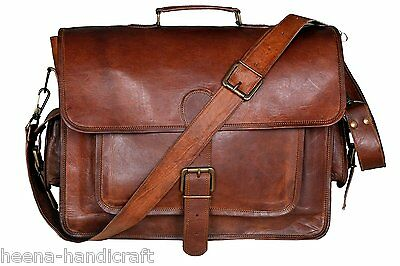 Hand made leather bag mens Retro Old Brown Leather Messenger Bag Shoulder Laptop Briefcase