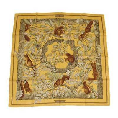 代购 Hermes爱马仕 黄色松鼠图案女士真丝丝巾围巾#0301 百搭秋冬