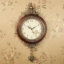 豪华欧式挂钟客厅实木摆钟创意艺术壁挂钟表田园静音复古装饰时钟