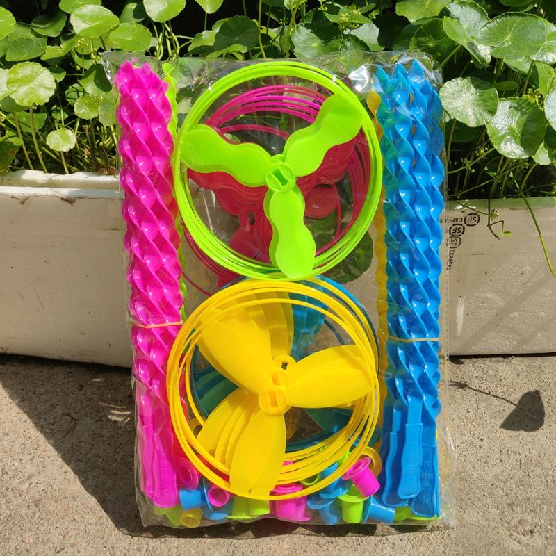 塑料飞天仙子飞盘陀螺带灯竹蜻蜓手推飞碟发光飞天轮旋转儿童玩具