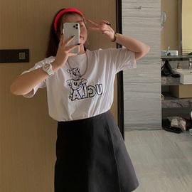 喵胖张桶桶 T恤女2020春装新款短袖印花宽松大码胖mm纯棉打底衫女
