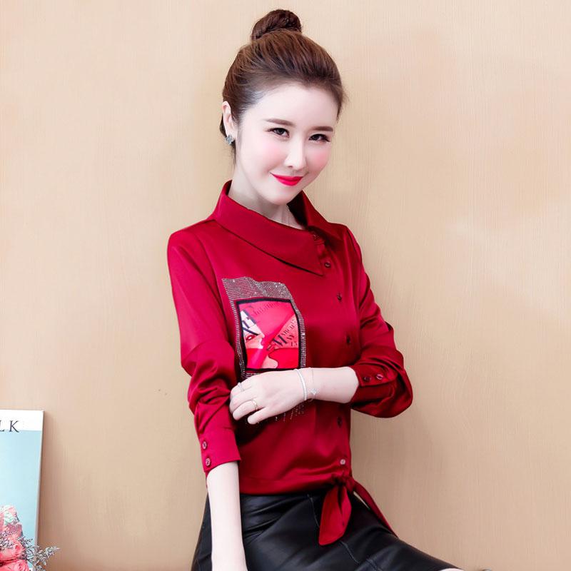 本命年红小衫雪纺衫女士2019秋冬款短款气质衬衫欧货洋气高档衬衣