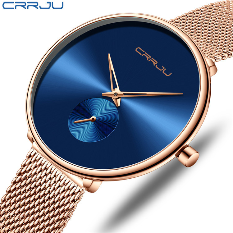 CRRJU/ tiktok new 2165 lady stainless steel watch strap mesh slim watch simple fashion chattering phantom