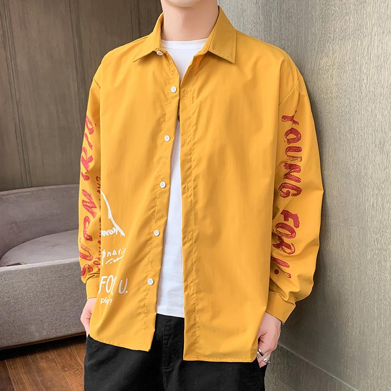 CS109-P35 2021春季新款男士休闲时尚潮流衬衣青年学生衬衫男装