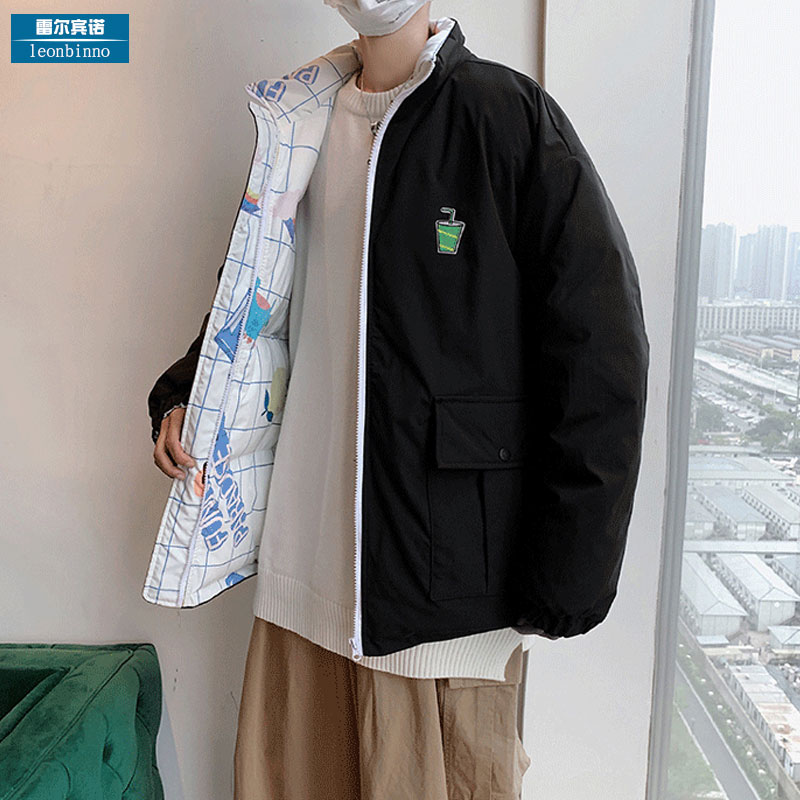 Two sides wear cotton clothes male tide brand loose simple big pocket down cotton clothing thick couple cotton jacket winter coat male