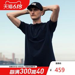 AK男装 夏季新款VINTAGE复古系列亨利领纯棉厚质休闲T恤纯色体恤