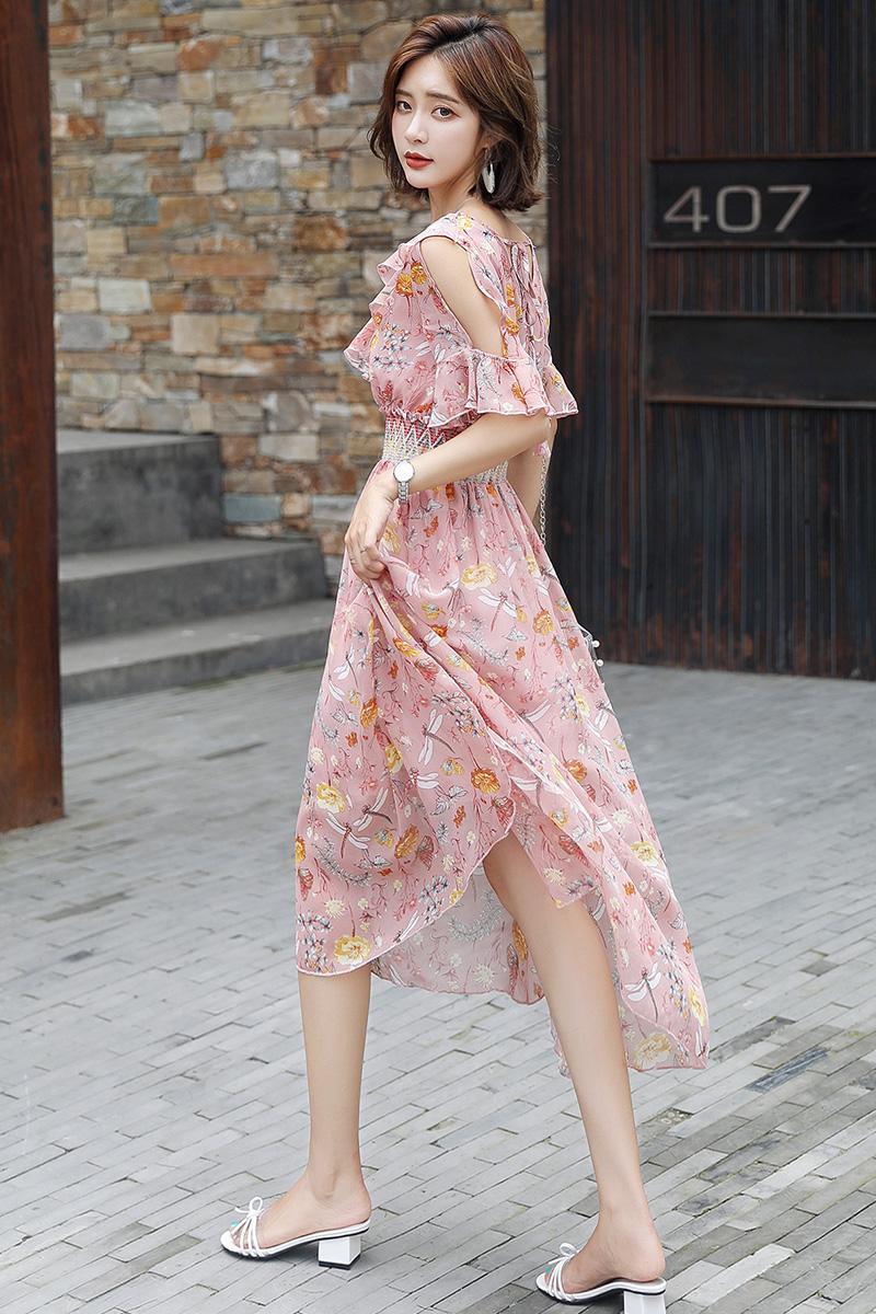 布景女装大码艾利�W2018夏装新款乔拉菲专柜时尚印花裙摆连衣裙