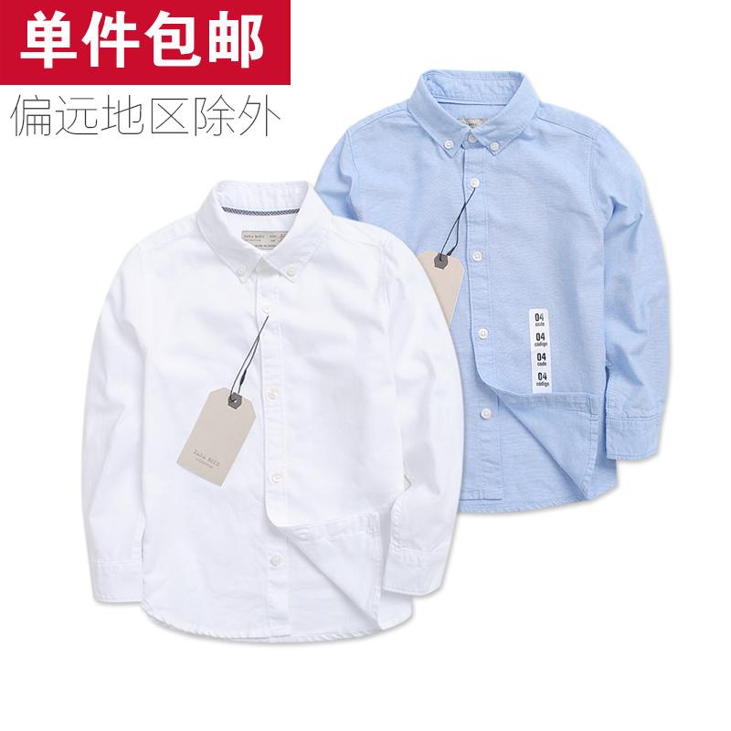 专柜货 童装男童大童纯棉长袖白色衬衫 儿童男童长袖白衬衫纯棉