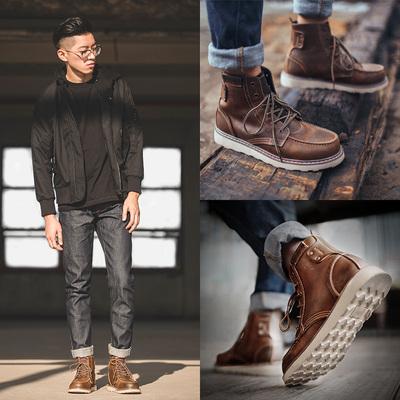 马丁靴男高帮工装靴子英伦风男靴中帮男鞋古着鞋短靴百搭皮靴潮
