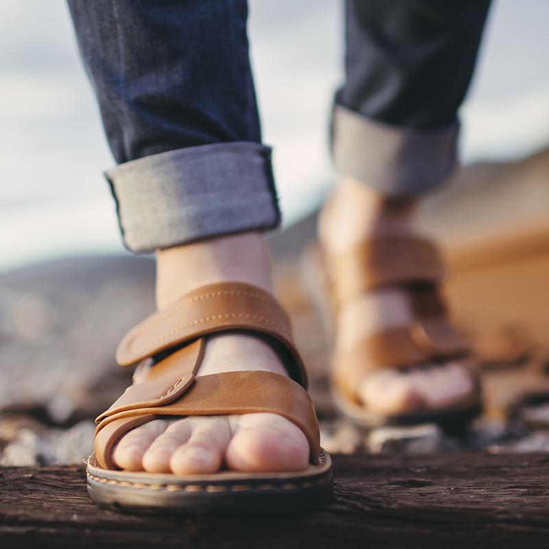凉鞋男士2019新款夏季真皮休闲软底沙滩拖鞋两用韩版潮流外穿凉拖