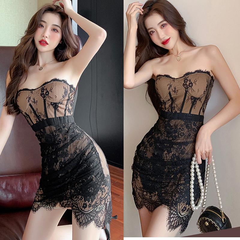 实拍新款性感裹胸蕾丝紧身包臀抹胸短裙气质网红连衣裙女夏
