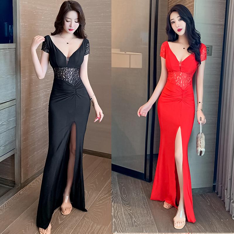 实拍新款夏季蕾丝拼接v领连衣裙小心机高腰气质长裙显瘦礼服