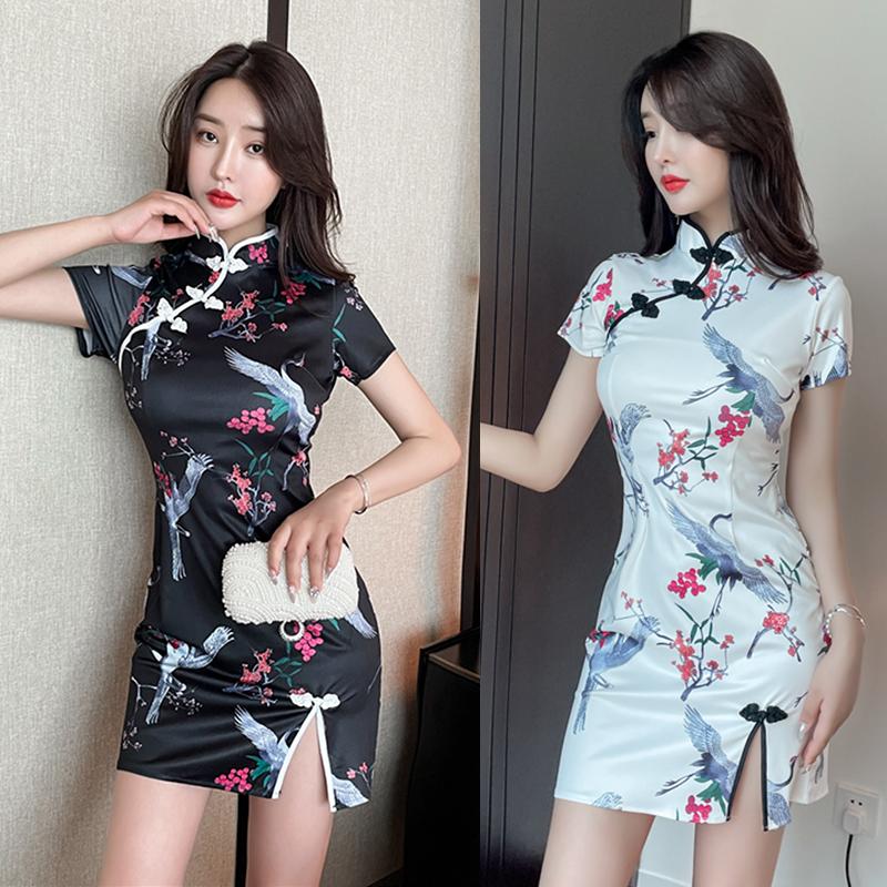 实拍 新款复古花型改良少女款旗袍短袖收腰包臀连衣裙