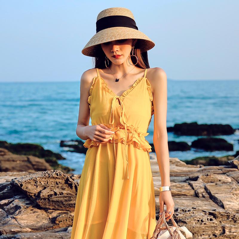 Sanya beach skirt beach skirt womens dress V-neck sling big swing long skirt super fairy seaside resort