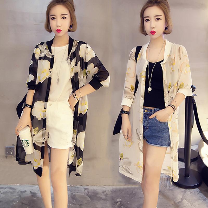 2018夏季新款韩版大码宽松中长款雪纺防晒衣服女装披肩外套薄开衫