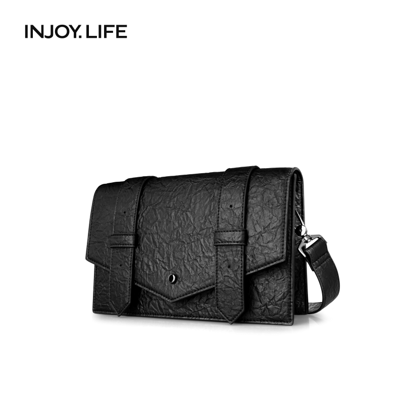 INJOYLIFE Hong Kong style messenger bag men's bag work bag retro one-shoulder casual commuter free shipping bag tide