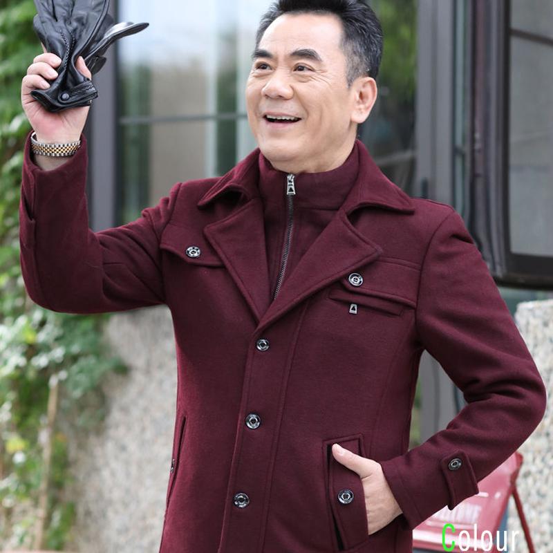 Fashion jacket wool Nizi coat slim fit wear medium and long wool coat grey dad mens coat