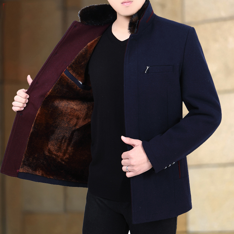 Winter woolen coat mens short middle-aged jacket slim fit woolen nylon coat fathers vertical collar plus plush and thickened