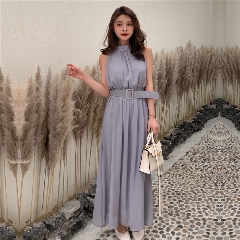 Special price Qing Cang womens dress summer long super fairy to ankle imperial sister wind hanging neck temperament dress with waist closing showing thin trend
