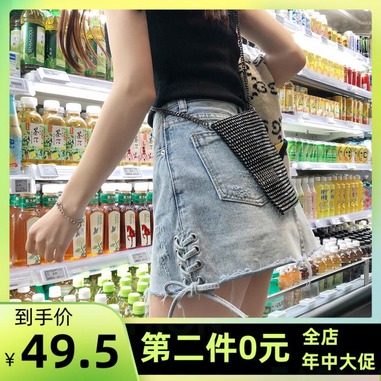Denim skirt fake two pieces of anti light skirt Korean trouser skirt summer new black and white versatile slim A-line skirt