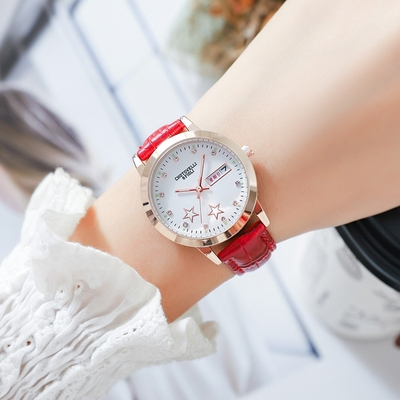 Watch female student Korean version of simple casual fashion rhinestone trend double calendar luminous belt waterproof ladies watch