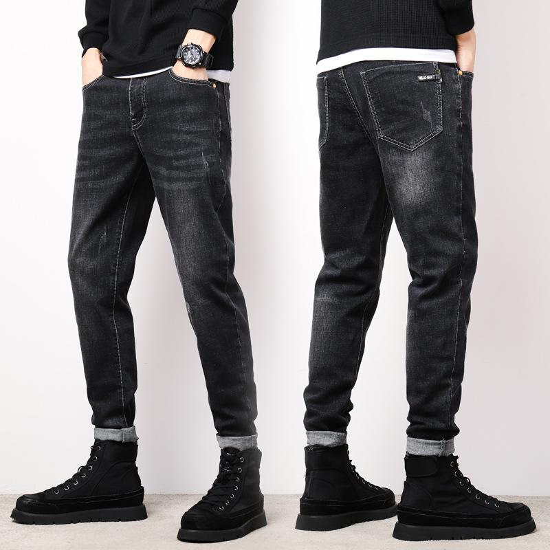 男式牛仔裤时尚潮流弹力修身小脚裤韩版男装青少年长裤子秋冬新款