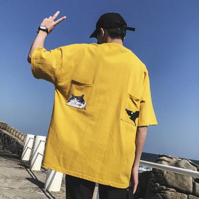 爆款主推A029新款印花短袖T恤大码港风插肩袖T恤日系T32P30