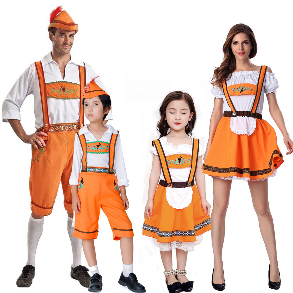 Parents and childrens Halloween German Beer Festival costume beer costume womens costume lovers performance costume mens adult Maid Costume