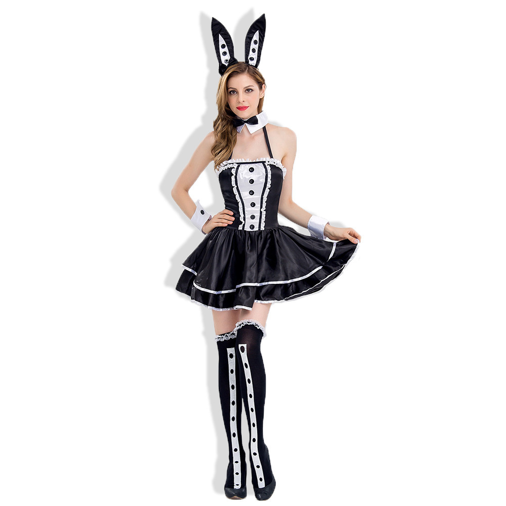 实拍化妆舞会黑白兔女郎服装俱乐部女服务生制服 cos魔术师演出服