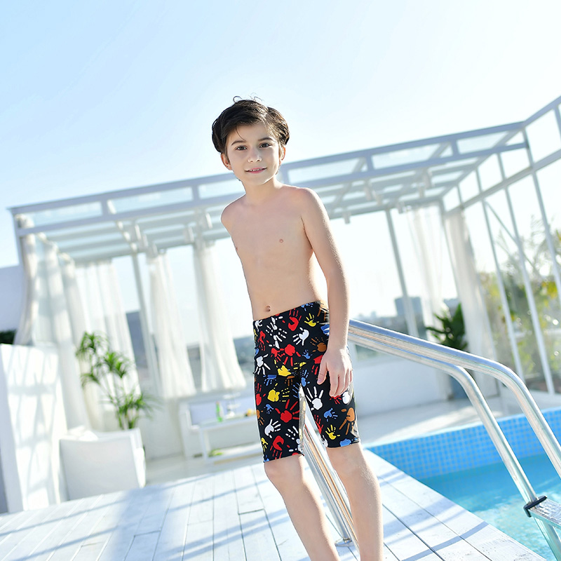 Childrens Swimsuit Boys long leg flat corner swimming trunks cute boys small middle school childrens five point swimming trunks students leg length pants