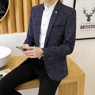 新款男士西装休闲韩版修身上衣帅气薄款小西服装英伦潮流男装外套