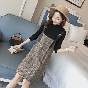 2019秋冬女裝新款韓版顯瘦百搭兩件套背帶裙女中長款格子連衣裙