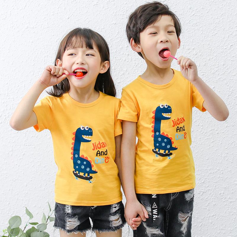 夏装儿童短袖t恤男童女童纯棉睡衣半袖2019新款宝宝体恤上衣童装