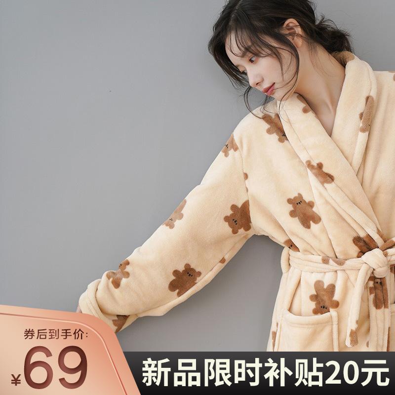 格格咪加长款珊瑚绒2021年春秋睡袍